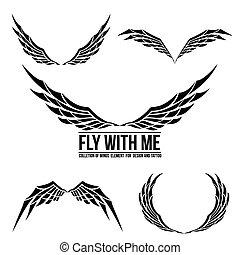 デザイン, セット, 紋章, 翼, 要素