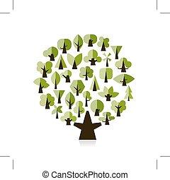 デザイン, セット, 緑, あなたの, 木