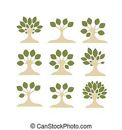 デザイン, セット, 芸術, あなたの, 木
