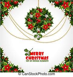 デザイン, セット, misc, クリスマス, 要素