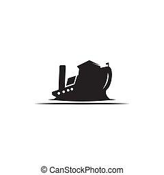 デザイン, タンカー, ベクトル, オイル, ロゴ, テンプレート, 船