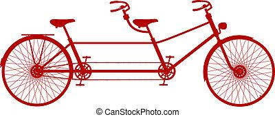デザイン, タンデム, 自転車, レトロ, 赤