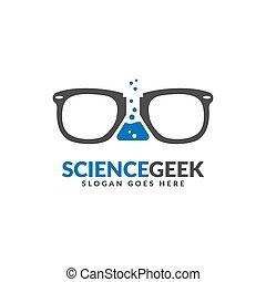 デザイン, テンプレート, ロゴ, 白, 中央, geek, 科学ラボ, glasses., ビーカー, スペース