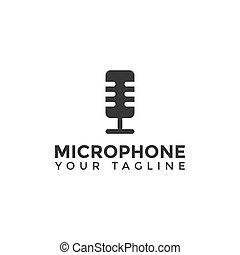 デザイン, テンプレート, 単純である, ロゴ, マイクロフォン