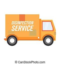 デザイン, トラック, ベクトル, 消毒, サービス