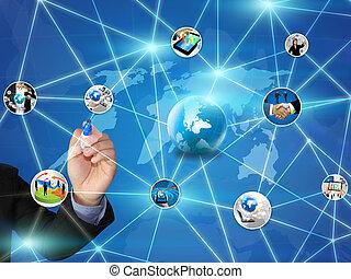 デザイン, ネットワーク, ビジネス