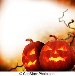 デザイン, ハロウィーン, ボーダー, pumpkins.