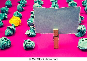 デザイン, ビジネス, 空, テンプレート, 隔離された, ミニマリスト, グラフィック, レイアウト, テンプレート, ∥ために∥, 広告, エメラルド, ペーパー球, 黄色, かたまり, バラ色, 床, paperclip, 保ちなさい, 灰色, ページ