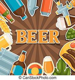 デザイン, ビール, オブジェクト, ステッカー, 背景