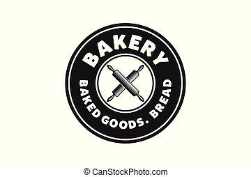 デザイン, ピン, 型, イラスト, パン屋, ベクトル, 交差させる, 回転, ロゴ, インスピレーシヨン