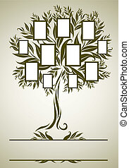 デザイン, フレーム, ベクトル, 木, 家族