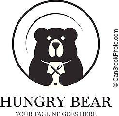 デザイン, プラテン, スペース, 食物, 空腹, 熊, 否定的, 装置, 背景, ロゴ