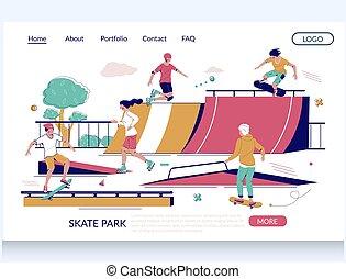 デザイン, ベクトル, ウェブサイト, 着陸, テンプレート, 公園, ページ, スケート