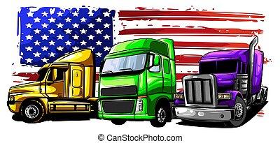 デザイン, ベクトル, 半, truck., イラスト, 漫画, 芸術