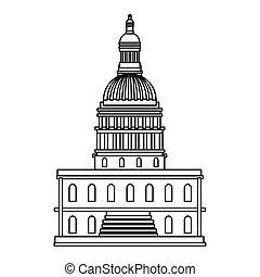 デザイン, ベクトル, 隔離された, アメリカ, 国会議事堂