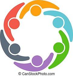 デザイン, ベクトル, logo., 人々, チームワーク