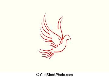 デザイン, モノラル, 飛行, 隔離された, ハト, 背景, 結婚式, ロゴ, 線, 白, インスピレーシヨン
