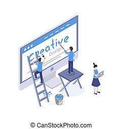 デザイン, モビール, 作成, スタジオ, グラフィック, 3d, 考え, clipart., ux, ベクトル, 隔離された, 図画, 等大, 探索, 開発, app, ホームページ, 網, インターフェイス, illustration., 解決, デザイナー, ui