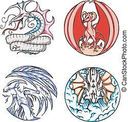 デザイン, ラウンド, ドラゴン