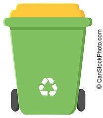 デザイン, リサイクルしなさい, 平ら, 緑, 大箱