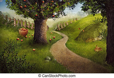 デザイン, -, リンゴ果樹園, 自然