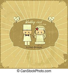 デザイン, レトロ, カード, 結婚式