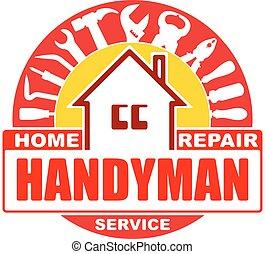 デザイン, レンチ, 紋章, ハンマー, そこに, 労働者, ベクトル, ラウンド, scrap., 赤, 修理, ロゴ, handyman, プライヤー, services., 家, ∥あるいは∥, gamma., tools., ねじ回し, 黄色, セット, あなたの
