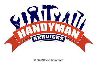 デザイン, レンチ, 紋章, ハンマー, そこに, 労働者, ベクトル, 旗, サービス, scrap., 赤, 曲がり, ロゴ, はんだ付けする, handyman, プライヤー, ∥あるいは∥, 鉄, tools., ねじ回し, セット, あなたの