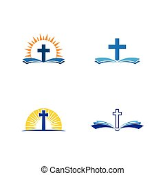 デザイン, ロゴ, セット, 教会, ベクトル, テンプレート