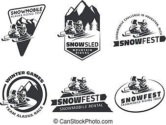 デザイン, 乗馬, バッジ, スノーモービル, そりで滑べりなさい, 冬, セット, 旅行, 紋章, elements., 雪, icons.