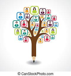 デザイン, 人々, 木, 創造的, 社会