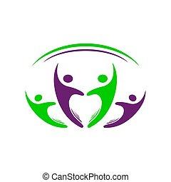 デザイン, 人々, 4, ベクトル, グループ, 4, シンボル, 共同体, カラフルである, テンプレート, ロゴ, 印, 人