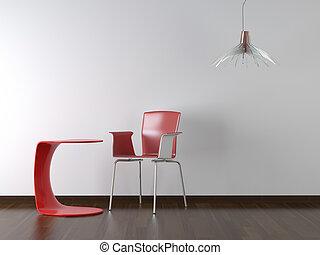 デザイン, 内部, テーブル, 椅子, 白い赤