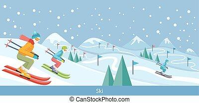 デザイン, 冬の景色, スキー