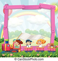 デザイン, 列車, ボーダー, 子供