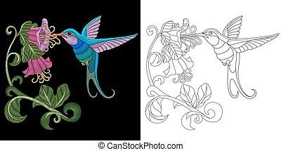 デザイン, 刺繍, ハチドリ