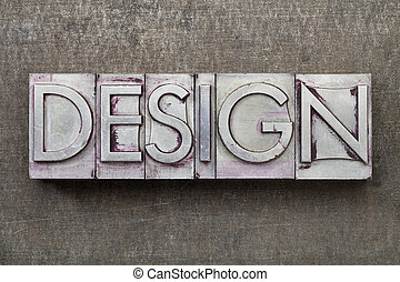 デザイン, 単語, 中に, 金属, タイプ