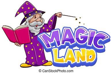 デザイン, 単語, 古い, 土地, マジック, 魔法使い, 壷