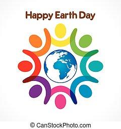 デザイン, 地球, 幸せ, 日