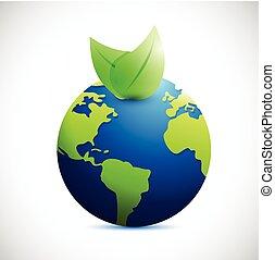 デザイン, 地球, 自然, leaves., イラスト