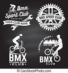 デザイン, 型, 鎖, ロゴ, 概念, バッジ, vector., セット, chalkboard., bicycle...