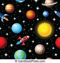 デザイン, 子供, ロケット, seamless, 惑星