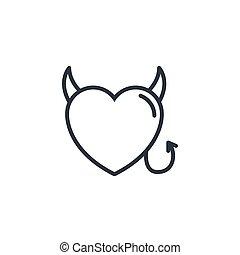 デザイン, 悪魔, 線, アイコン, 心, 愛