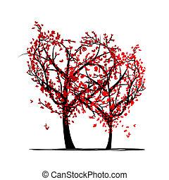 デザイン, 愛, あなたの, 木