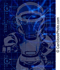 デザイン, 技術, ロボット, 背景, 3d