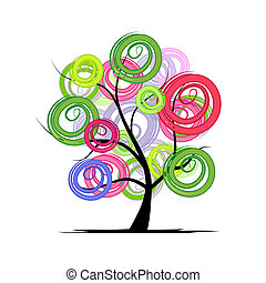 デザイン, 抽象的, 木, あなたの, カラフルである