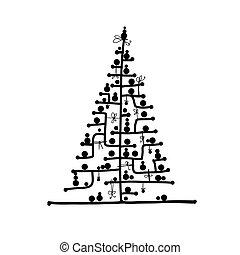 デザイン, 抽象的, 木, あなたの, クリスマス