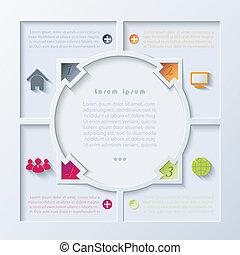 デザイン, 抽象的, infographic, 矢, 円