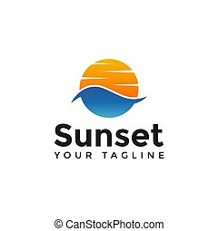 デザイン, 日没, テンプレート, ロゴ, 夏, 旅行, 浜