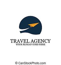 デザイン, 日没 浜, ペーパー, ロゴ, 旅行, インスピレーシヨン, 飛行機